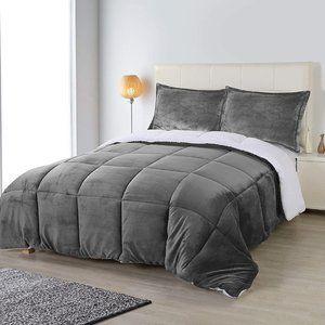 New Grey 3 Piece King Reversible Super Soft Heavy Sherpa-Flannel Comforter Set